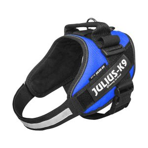 Julius K9 IDC powertuig blauw baby 1 - maat 4 met tekstlabels die gepersonaliseerd kunnen worden door K9-Label
