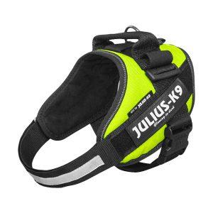 Julius K9 IDC powertuig neon groen baby 1 - maat4 met tekstlabels die gepersonaliseerd kunnen worden door K9-Label