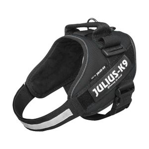 Julius K9 IDC powertuig zwart baby 1 - maat 4 met tekstlabels die gepersonaliseerd kunnen worden door K9-Label